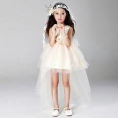 27.92$  Watch now - http://aiii5.worlditems.win/all/product.php?id=32308851953 - 2017 Sweet Pincess Champagne Girl Dress Kids Girls Vestidos Summer Children Clothes For 3 4 6 8 10 12 14 Years Old AKF164089