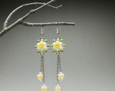 Items similar to Beaded sweets earrings; cream & latte, dangle drop on Etsy Daisy Chain, How To Make Earrings, Seed Beads, Chains, Latte, Unique Gifts, Dangles, Sweets, Pearls