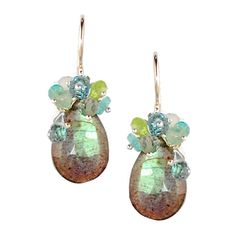 Labradorite Earrings with Blue Topaz, Green Amethyst, Peridot and Apatite