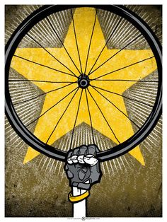 Bicycle Cycling Art Print benefiting Livestrong. $30.00