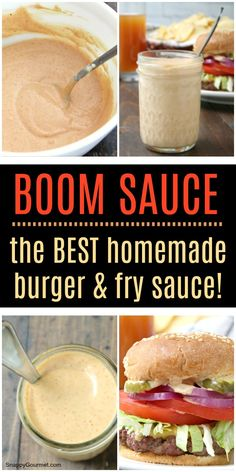BOOM SAUCE RECIPE - quick and easy homemade condiment that is BEST burger and fry sauce! Also great as a chip and veggie dip, on sandwiches, for meat (chicken, pork, steak, and shrimp) in salads, and more! We keep a big jar of this in the fridge at all times, no joke! #SnappyGourmet #Burger #Condiment #Fries Sauce Recipes, Dip Recipes, Gourmet Recipes, Cooking Recipes, Recipies, Big Jar, Fry Sauce, Queso Recipe Easy, Homemade Burgers