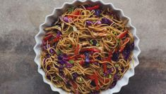 Noodles tangle together under a sweet, nutty sauce and combine with shredded grilled chicken for an easy make-ahead dish. Roast Chicken Recipes, Grilled Chicken, Dinner Dishes, Pasta Dishes, Main Dishes, Side Dishes, Kosher Recipes, Cooking Recipes, Kosher Food