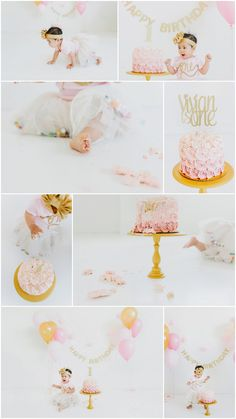 Pink and Gold 1st Birthday Cake Smash by Lori Romney Photography