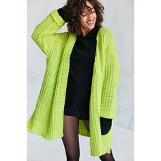 Silence + Noise Ally Neon Chunky Cardigan ($50) ❤ liked on Polyvore featuring tops, cardigans, chunky oversized cardigan, long cardigan, neon green top, long chunky cardigan and long tops