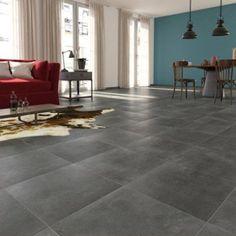 Carrelage sol et mur gris foncé effet béton Laiton l.45 x L.45 cm | Leroy Merlin