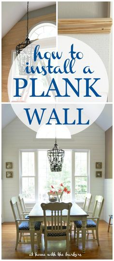 How to Install a Plank Wall using Tongue and Groove Pine boards. Gorgeous wall detail for this kitchen makeover!