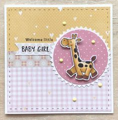 Girafje – Eline's Baby Animals Diy Cards Baby, Baby Girl Cards, New Baby Cards, Kids Cards, Baby Barn, Little Baby Girl, Stamping Up Cards, Marianne Design, Baby Scrapbook
