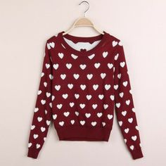 Red dot embroidery regular sleeve long sleeve lolita style Floral Sweaters