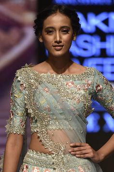 Shop Anushree Reddy Embroidered Lehenga Set , Exclusive Indian Designer Latest Collections Available at Aza Fashions Saree Blouse Neck Designs, Lehenga Designs, Blouse Designs, Blouse Patterns, Dress Designs, Blouse Styles, Wedding Dresses For Girls, Indian Wedding Outfits, Indian Outfits