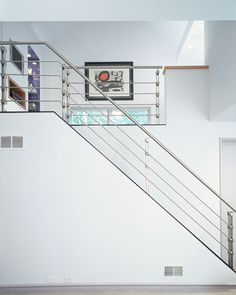 Crosstree architectural metal fabrication projects include custom metal works such as stainless steel stair railings. Stainless Steel Stair Railing, Cable Stair Railing, Staircase Handrail, Steel Handrail, Stair Railing Design, Steel Stairs, Metal Railings, Glass Railing, Spiral Stair