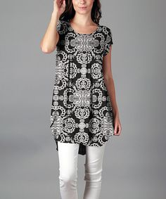 Look at this #zulilyfind! Black & White Mandala Cap-Sleeve Tunic - Plus #zulilyfinds