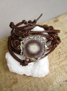 Druzy Stalactite Bracelet Amethyst Slice Knotted by julianneblumlo, $108.00