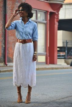 i love a good skirt and button-down combo.