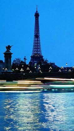 paris, france, eiffel tower, bridge, water, blue sky, evening, lights, night city