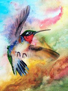 Hummingbird Wall Art - Painting - Flit The Hummingbird By Daniel Adams by Daniel Adams Framed Prints, Canvas Prints, Wood Print, Fine Art America, Watercolor Paintings, Print Design, Totem Poles, Hummingbirds, Wall Art