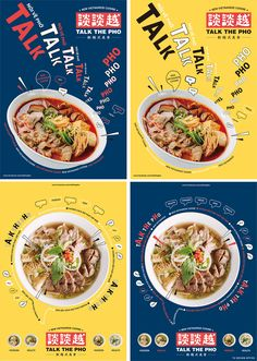 Talk The Pho food poster Food Graphic Design, Food Poster Design, Food Menu Design, Creative Poster Design, Food Packaging Design, Creative Posters, Graphic Design Posters, Ad Design, Graphic Design Inspiration
