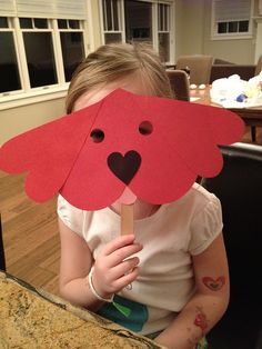 Clifford the Big Red Dog made from all heart shapes for Valentine's Day.