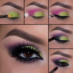 Green And Pink Eyeshadow Pictorial! Green And Pink Eyeshadow Pictorial! - Das schönste Make-up Sexy Eye Makeup, Makeup For Green Eyes, Gorgeous Makeup, Love Makeup, Makeup Inspo, Makeup Inspiration, Beauty Makeup, Hair Makeup, Prom Makeup