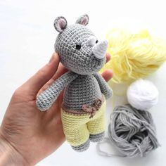 This Cuddle Me Rhino amigurumi dressed in sunny pants is the ideal friend for your little one! Crochet him today with our Cuddle Me Rhino Amigurumi Pattern!