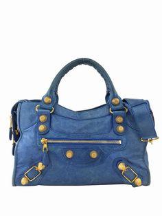 Consigned Designs   Balenciaga Handbag   Blue Lambskin Leather Giant 21  Gold City Bag  balenciaga b4bde1d835