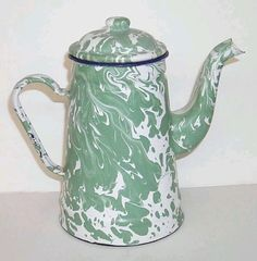 Beachy Enamel Coffee Pot