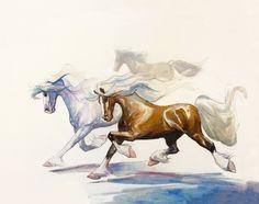 Watercolor Painting Watercolor Horse Art by SweetPeaAndGummyBear