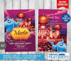 Aladdin Invitation Aladdin Invitations Aladdin by TemplateMansion