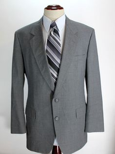 Hart Schaffner Marx Blazer Sport Coat Mens size 44L Gray 2 Button made in USA #HartSchaffnerMarx #TwoButton