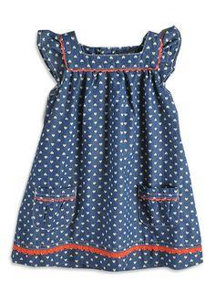 Pumpkin Patch - dresses - denim heart print dress - W3TG80033 - denim - 6-12mths to 6