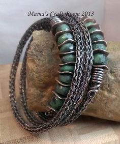 Coiled wrap viking knit bracelet in copper with zoisite from Magpie Gemstones. http://www.facebook.com/MamasCraftRoom