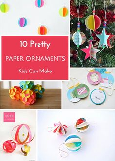 Easy and festive paper holiday ornaments to make with kids.