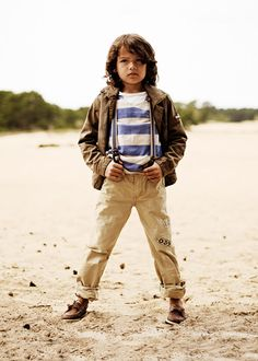 Scotch & Soda Collection - Neutrals and stripes    Order men's chinos with suspender to match boy's outfit