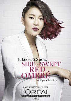 Chen Ran indossa un Side Swept Red Ombré per L'Oréal Professionnel #ITLooks #hair #lorealprofessionnel #swept