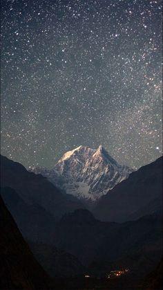 stars, sky, and mountains Bild