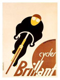"""Adolphe Jean-Marie Mouron """"Cassandre"""" - Cartel Bicicletas Brilliant  (1923)"""