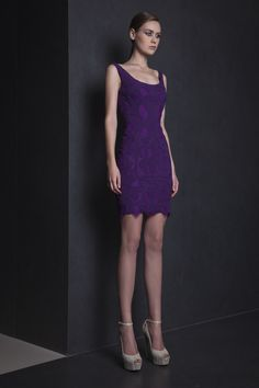 Ready To Wear Spring Summer 2015  | Style 51 Short Purple Chantilly Lace dress covered with interlaced cuts of Moroccan Crepe.