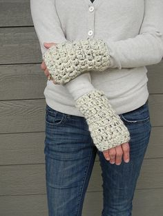 Whip up these cute wristwarmers with Lion Brand Wool-Ease Thick & Quick! Free crochet pattern by Justyna.