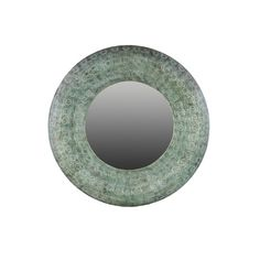 Urban Trends Metal Round Wall Mirror in Pierced Metal Verdigris