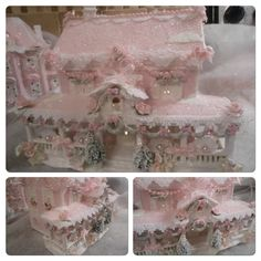 """Christmas village Victorian house repainted pink, white & light green. Embellished with ribbon, roses, lace, feather trim, diamond dust & glitter. 8.5"""" tall & 10"""" x 7"""". Comes with light cord. Shabby Victorian Christmas village house with roses & glitter. ~ TheCottagePlace on eBay"""