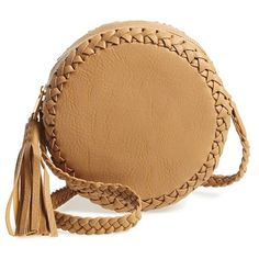 Big Buddha Faux Leather Round Crossbody Bag (90 AUD) ❤ liked on Polyvore featuring bags, handbags, shoulder bags, accessories bags, purses, camel, big buddha handbags, beige handbags, boho handbag and boho shoulder bag