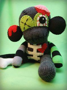 Mini Zombie Sock Monkey Monster - Halloween Frankenstein Handmade Plush/Toy/Doll - Free Gift Tag Included