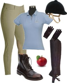 what i wear riding in the spring and summer, with apples for my horses! :)