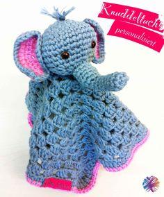 crochet lovey elephant http://bewool.de/personalisierte-knuddeltuecher/
