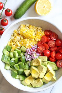 This Corn Tomato Avocado Salad is summer in a bowl! The perfect side dish with a… This Corn Tomato Avocado Salad is summer in a bowl! The perfect side dish with anything you're grilling, or double the portion as a main dish. Healthy Diet Recipes, Healthy Meal Prep, Vegetarian Recipes, Cooking Recipes, Vegetarian Pasta Salad, Cooks Country Recipes, Cooking Ribs, Healthy Soup, Raw Food Recipes