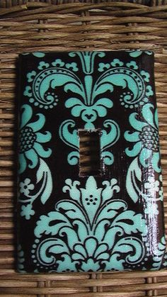 Damask Teal ( Tiffany Blue ) and White on Black Single Toggle Light Switch Plate Cover. $3.50, via Etsy.