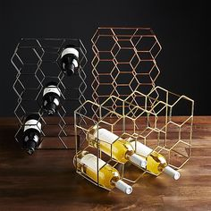 11-Bottle Gold Wine Rack | Crate and Barrel