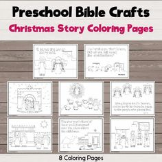 Color your way through Christmas with 8 different Christmas story coloring pages showing Mary, the birth of Jesus, shepherds, and wise men. Jesus Stories, Bible Stories, A Christmas Story, Christmas Crafts, Advent Activities, Birth Of Jesus Christ, Bible Story Crafts, Preschool Bible, Advent Season