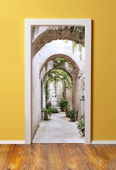 Old arcade at the Castle Wall Mural ✓ Easy Installation ✓ 365 Days to Return ✓ Browse other patterns from this collection! Door Stickers, Wall Stickers Murals, Foto 3d, Door Murals, Murals For Walls, Mural Art, Patio Interior, Castle Wall, Mediterranean Homes