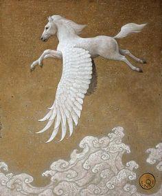 Pegasus 12F パネル・キャンバス・アクリル 「ペガサス」は、ギリシャ神話によれば、ポセイドンとメドゥーサの間に生まれたとされる。 姿は馬で、鳥のような大きな翼を持ち、自由に空を飛びまわることが出来る。
