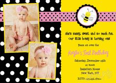 Bumble Bee First Birthday Invitations By LollipopPrints On Etsy 1000